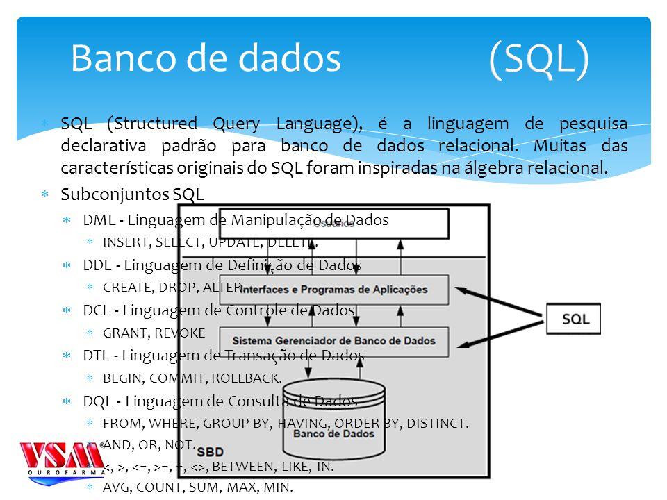 SQL (Structured Query Language), é a linguagem de pesquisa declarativa padrão para banco de dados relacional.
