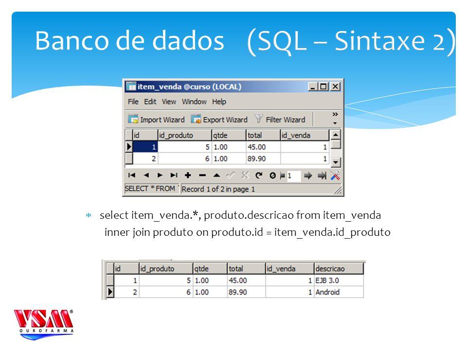 select item_venda.*, produto.descricao from item_venda inner join produto on produto.id = item_venda.id_produto Banco de dados