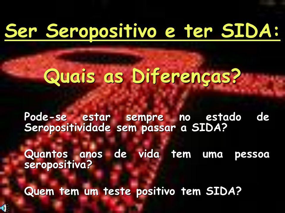 Ser Seropositivo e ter SIDA: Quais as Diferenças? Pode-se estar sempre no estado de Seropositividade sem passar a SIDA? Quantos anos de vida tem uma p