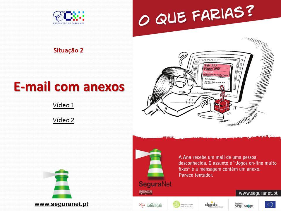 Situação 2 E-mail com anexos www.seguranet.pt Vídeo 1 Vídeo 2