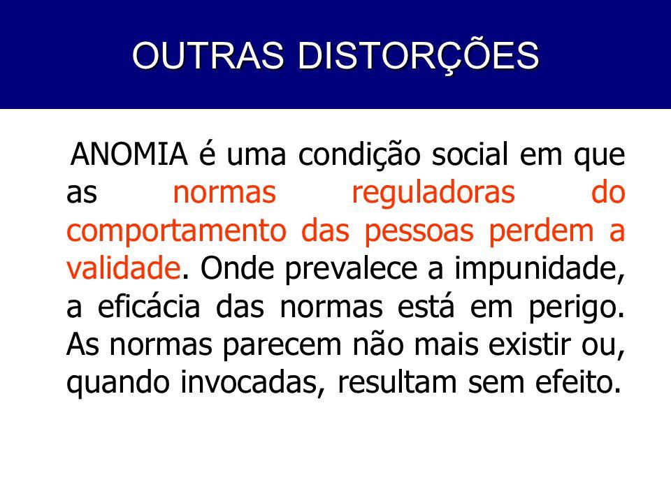 PROBLEMAS DO COTIDIANO ANOMIA é uma condição social em que as normas reguladoras do comportamento das pessoas perdem a validade. Onde prevalece a impu