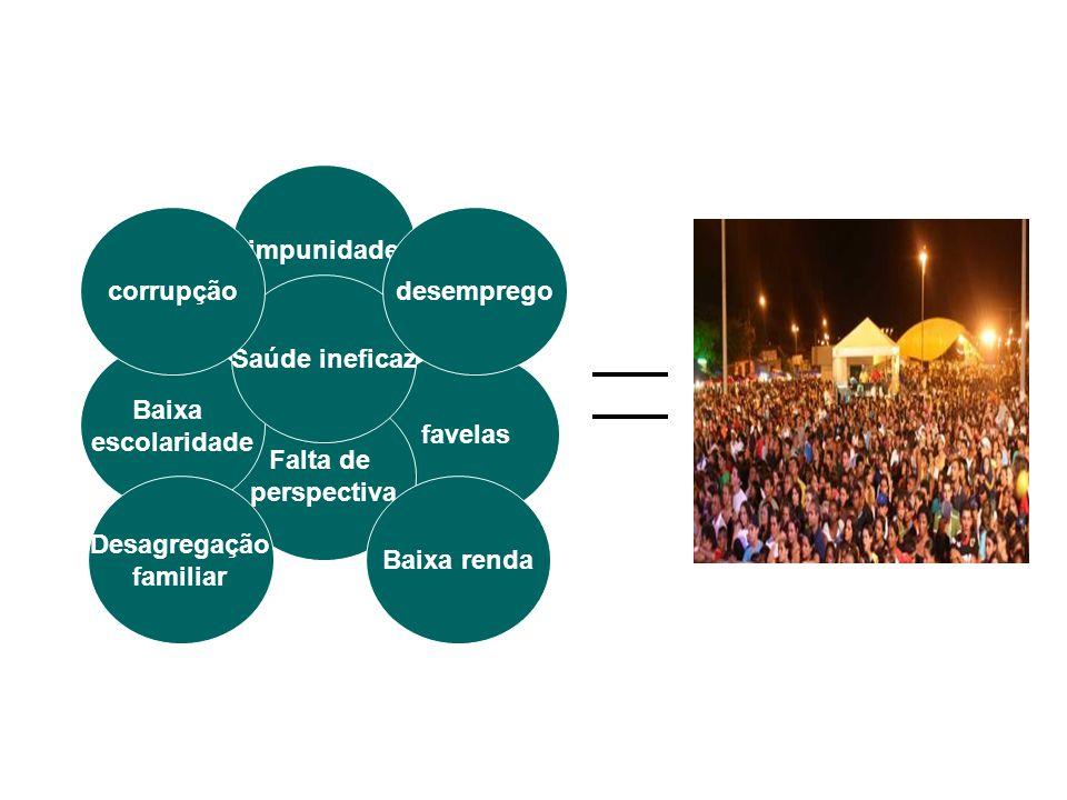 impunidade favelas Falta de perspectiva Baixa escolaridade Saúde ineficaz desempregocorrupção Desagregação familiar Baixa renda