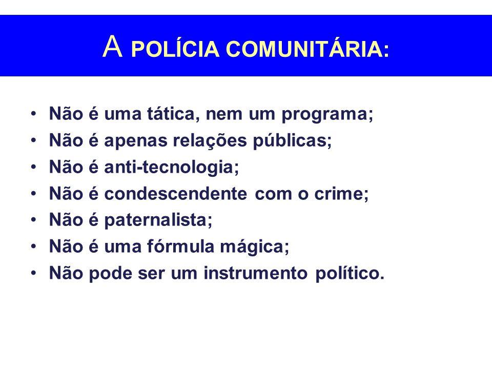 A POLÍCIA COMUNITÁRIA: Não é uma tática, nem um programa; Não é apenas relações públicas; Não é anti-tecnologia; Não é condescendente com o crime; Não é paternalista; Não é uma fórmula mágica; Não pode ser um instrumento político.
