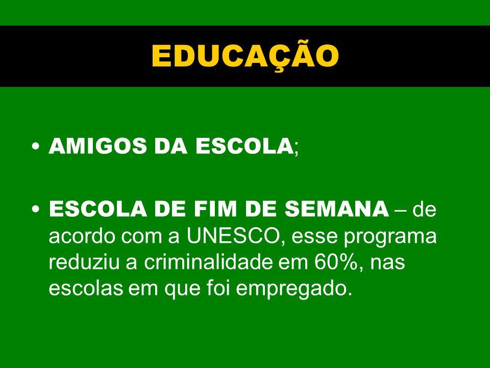 EDUCAÇÃO AMIGOS DA ESCOLA ; ESCOLA DE FIM DE SEMANA – de acordo com a UNESCO, esse programa reduziu a criminalidade em 60%, nas escolas em que foi empregado.