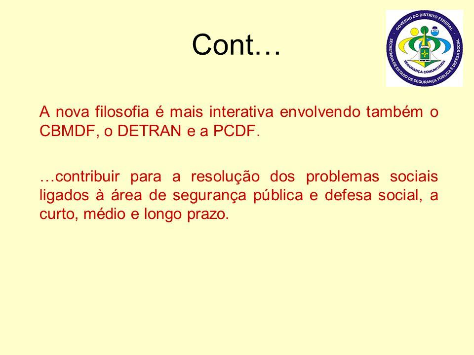 Cont… A nova filosofia é mais interativa envolvendo também o CBMDF, o DETRAN e a PCDF. …contribuir para a resolução dos problemas sociais ligados à ár