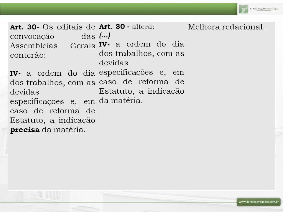 Art. 30- Os editais de convocação das Assembleias Gerais conterão: IV- a ordem do dia dos trabalhos, com as devidas especificações e, em caso de refor