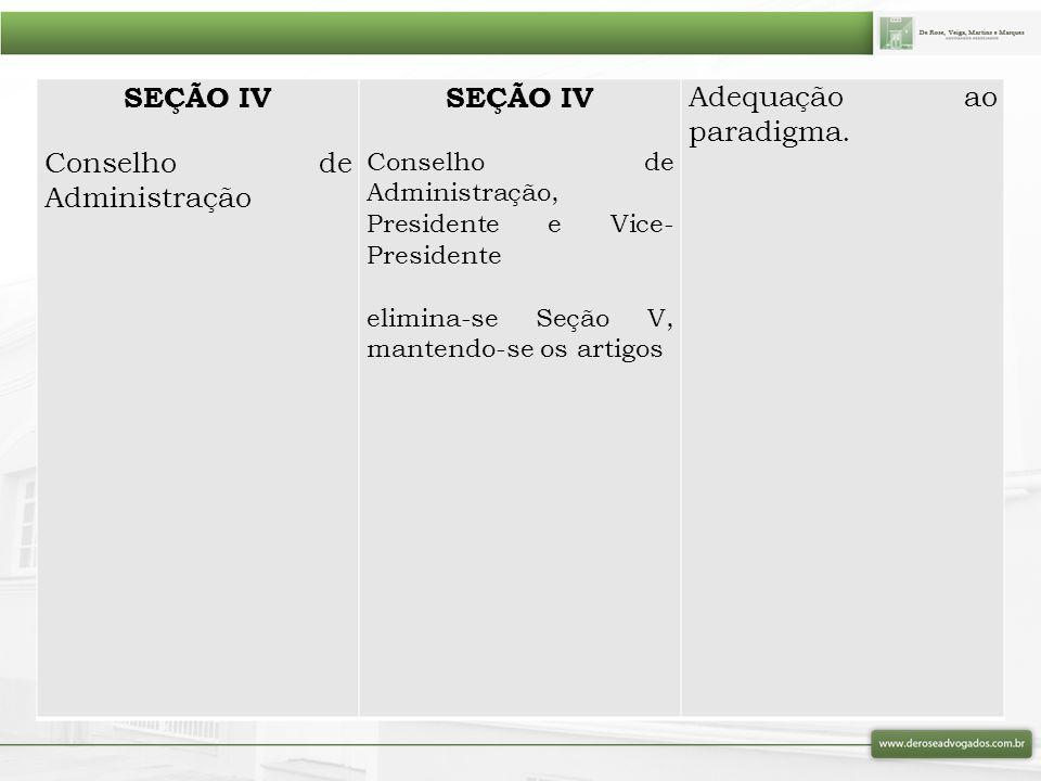 SEÇÃO IV Conselho de Administração SEÇÃO IV Conselho de Administração, Presidente e Vice- Presidente elimina-se Seção V, mantendo-se os artigos Adequa