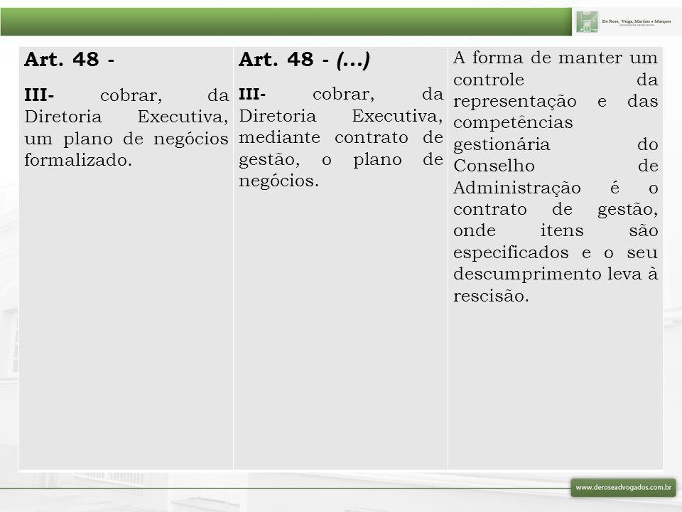 Art. 48 - III- cobrar, da Diretoria Executiva, um plano de negócios formalizado. Art. 48 - (...) III- cobrar, da Diretoria Executiva, mediante contrat
