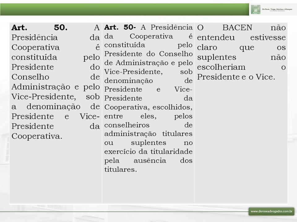 Art. 50. A Presidência da Cooperativa é constituída pelo Presidente do Conselho de Administração e pelo Vice-Presidente, sob a denominação de Presiden
