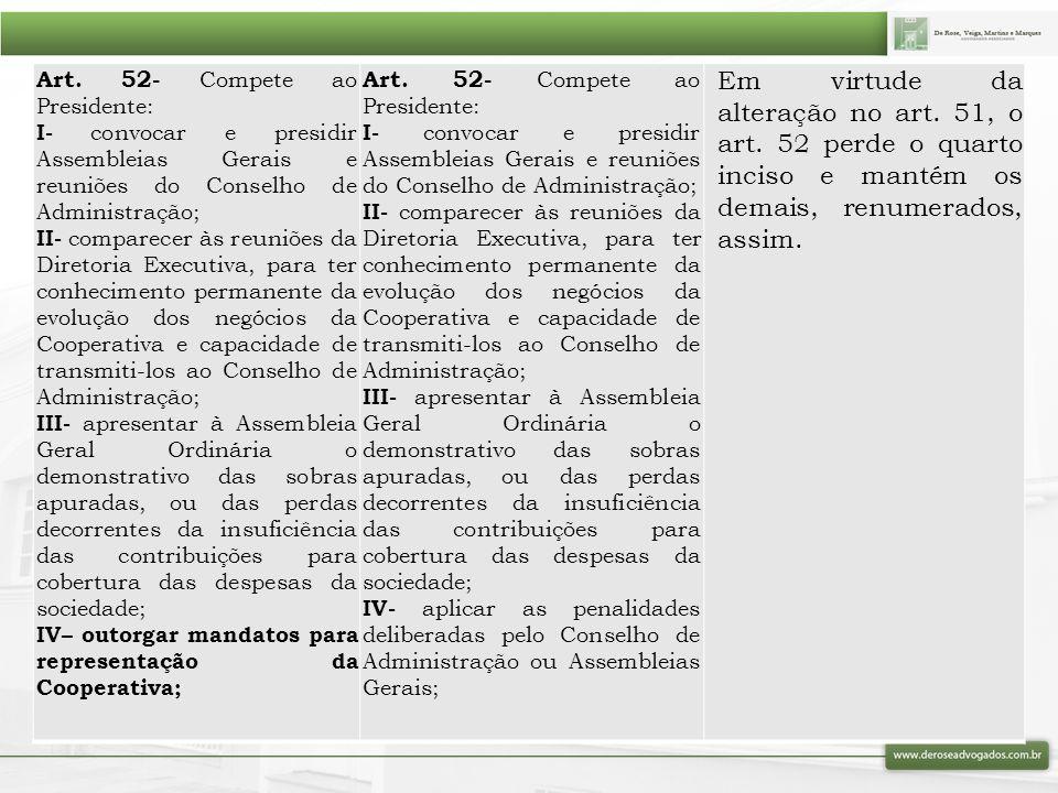 Art. 52- Compete ao Presidente: I- convocar e presidir Assembleias Gerais e reuniões do Conselho de Administração; II- comparecer às reuniões da Diret