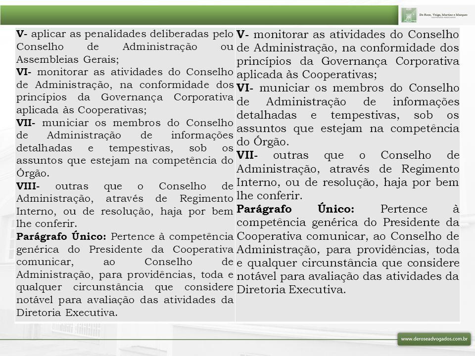 V- aplicar as penalidades deliberadas pelo Conselho de Administração ou Assembleias Gerais; VI- monitorar as atividades do Conselho de Administração,