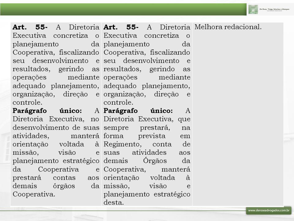 Art. 55- A Diretoria Executiva concretiza o planejamento da Cooperativa, fiscalizando seu desenvolvimento e resultados, gerindo as operações mediante