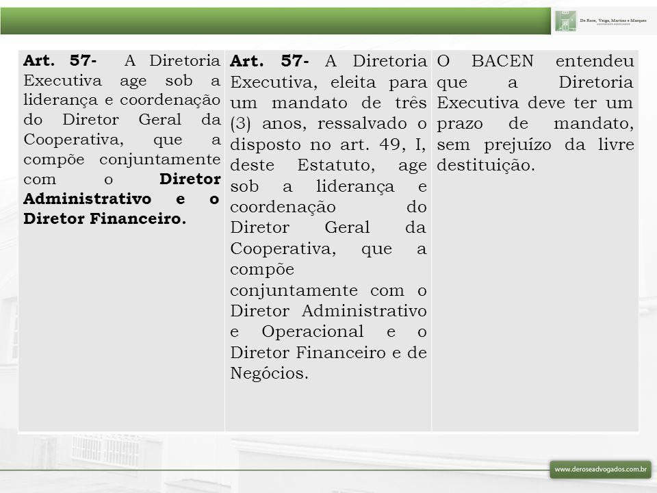 Art. 57- A Diretoria Executiva age sob a liderança e coordenação do Diretor Geral da Cooperativa, que a compõe conjuntamente com o Diretor Administrat