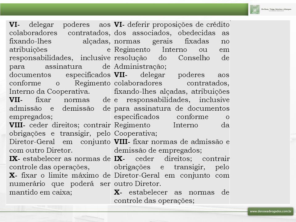 VI- delegar poderes aos colaboradores contratados, fixando-lhes alçadas, atribuições e responsabilidades, inclusive para assinatura de documentos espe