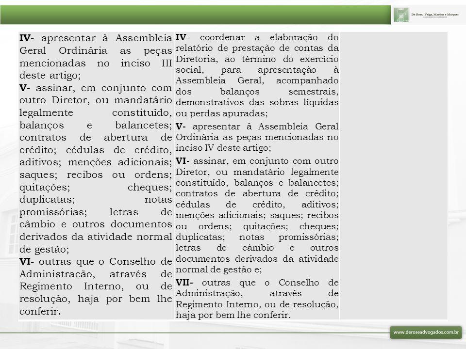 IV- apresentar à Assembleia Geral Ordinária as peças mencionadas no inciso III deste artigo; V- assinar, em conjunto com outro Diretor, ou mandatário