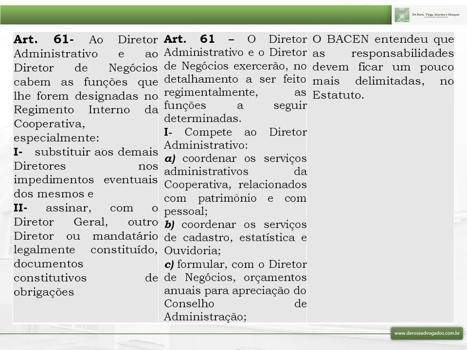 Art. 61- Ao Diretor Administrativo e ao Diretor de Negócios cabem as funções que lhe forem designadas no Regimento Interno da Cooperativa, especialmen