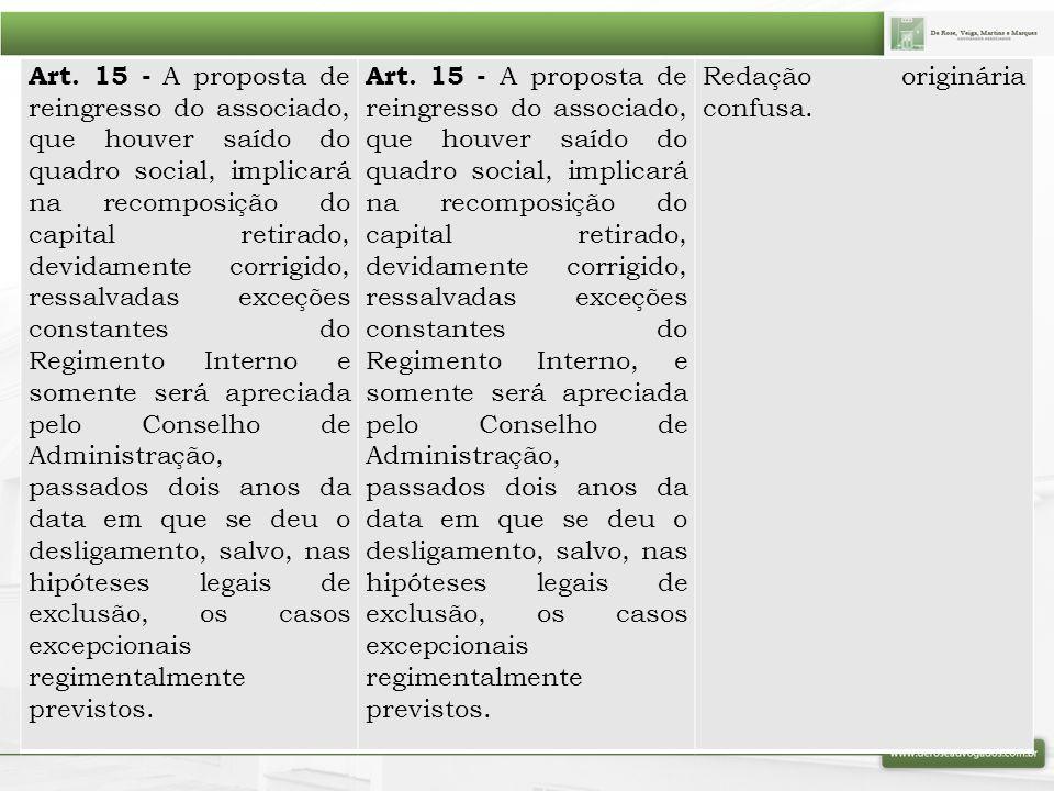 Art. 15 - A proposta de reingresso do associado, que houver saído do quadro social, implicará na recomposição do capital retirado, devidamente corrigi