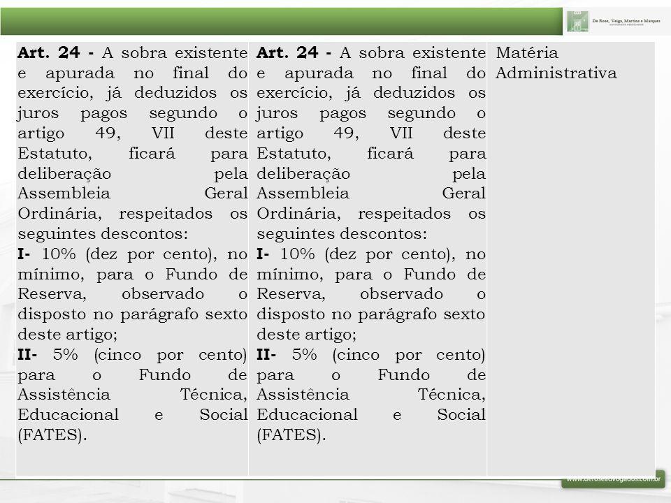 Art. 24 - A sobra existente e apurada no final do exercício, já deduzidos os juros pagos segundo o artigo 49, VII deste Estatuto, ficará para delibera