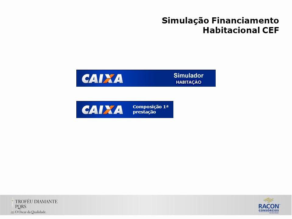 Simulação Financiamento Habitacional CEF Composição 1ª prestação