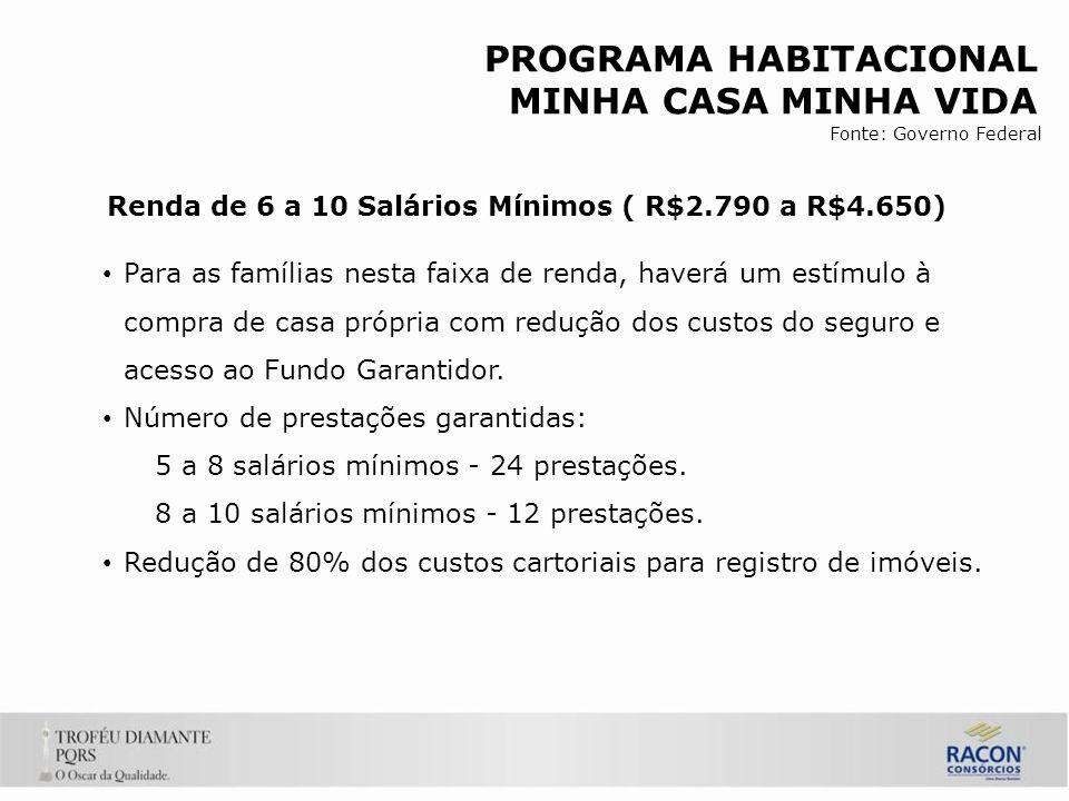 Para as famílias nesta faixa de renda, haverá um estímulo à compra de casa própria com redução dos custos do seguro e acesso ao Fundo Garantidor.