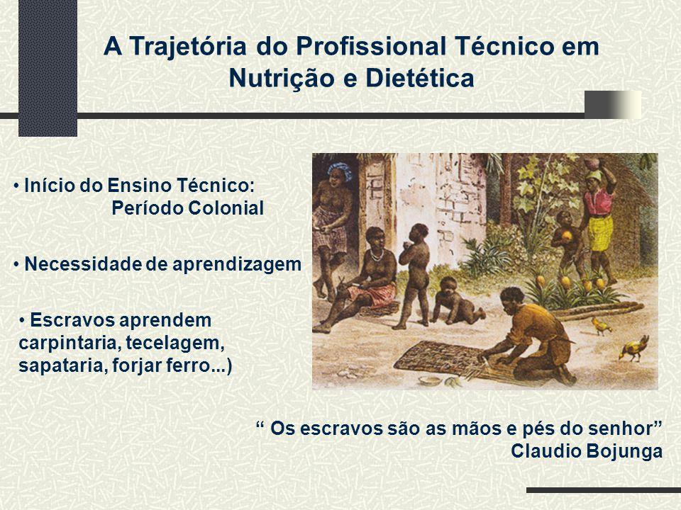 A Trajetória do Profissional Técnico em Nutrição e Dietética Início do Ensino Técnico: Período Colonial Escravos aprendem carpintaria, tecelagem, sapa