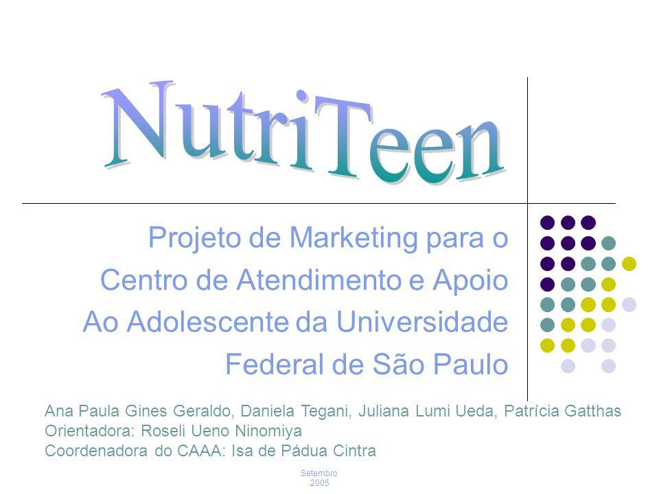 Objetivo Geral Elaborar um plano de marketing para melhorar o conhecimento sobre nutrição dos adolescentes no Centro de Atendimento e Apoio ao Adolescente (CAAA) da Universidade Federal de São Paulo.