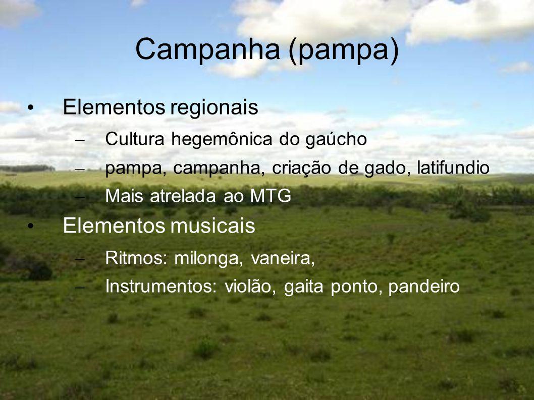 Campanha (pampa) Elementos regionais – Cultura hegemônica do gaúcho – pampa, campanha, criação de gado, latifundio – Mais atrelada ao MTG Elementos mu