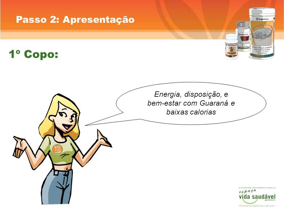 Passo 2: Apresentação Energia, disposição, e bem-estar com Guaraná e baixas calorias 1º Copo: