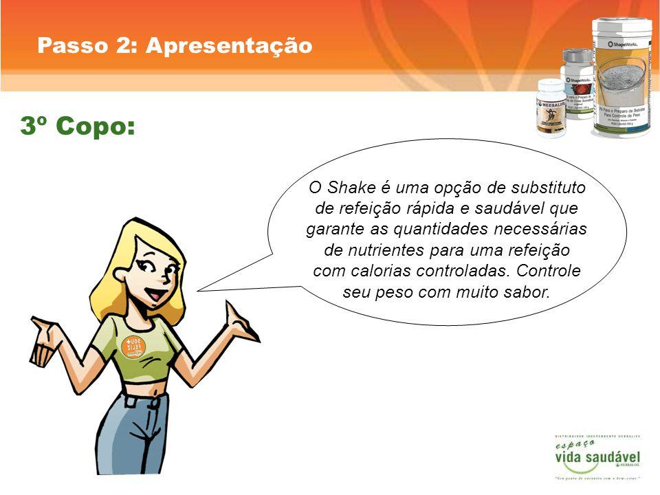 Passo 2: Apresentação O Shake é uma opção de substituto de refeição rápida e saudável que garante as quantidades necessárias de nutrientes para uma refeição com calorias controladas.