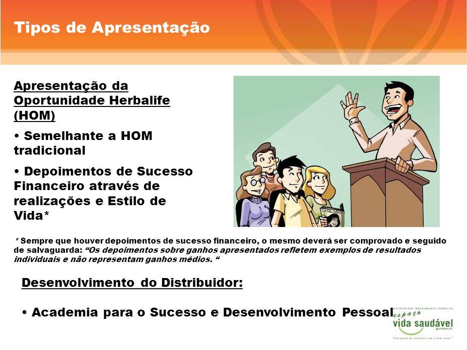 Apresentação da Oportunidade Herbalife (HOM) Semelhante a HOM tradicional Depoimentos de Sucesso Financeiro através de realizações e Estilo de Vida* T