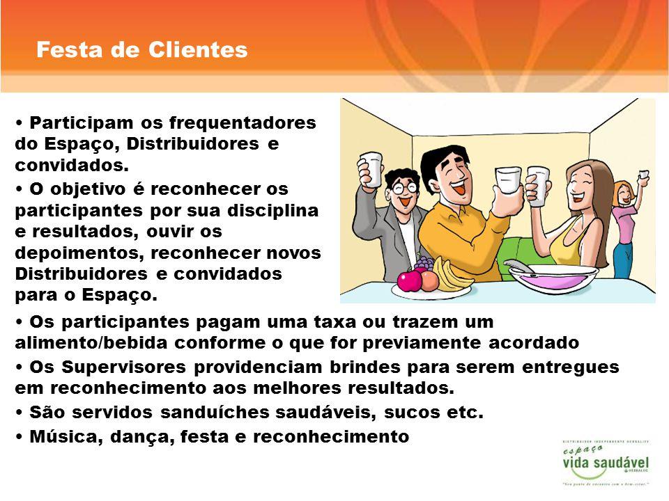 Festa de Clientes Os participantes pagam uma taxa ou trazem um alimento/bebida conforme o que for previamente acordado Os Supervisores providenciam br