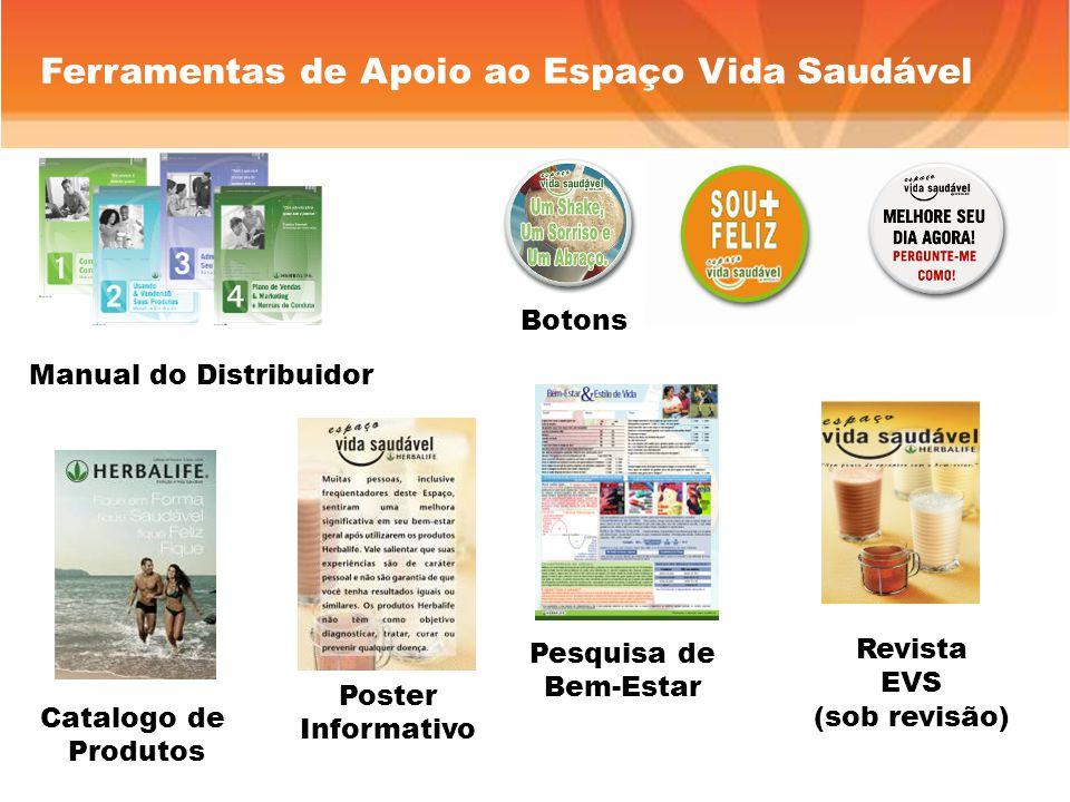 Manual do Distribuidor Botons Ferramentas de Apoio ao Espaço Vida Saudável Catalogo de Produtos Poster Informativo Pesquisa de Bem-Estar Revista EVS (sob revisão)