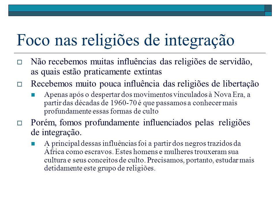 Foco nas religiões de integração Não recebemos muitas influências das religiões de servidão, as quais estão praticamente extintas Recebemos muito pouc