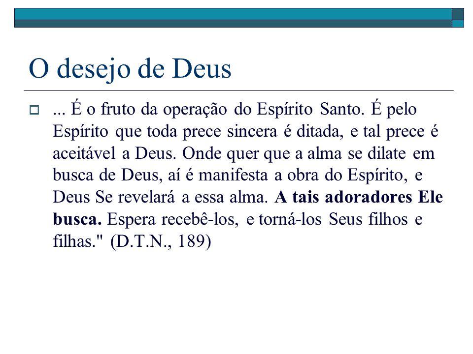O desejo de Deus... É o fruto da operação do Espírito Santo. É pelo Espírito que toda prece sincera é ditada, e tal prece é aceitável a Deus. Onde que