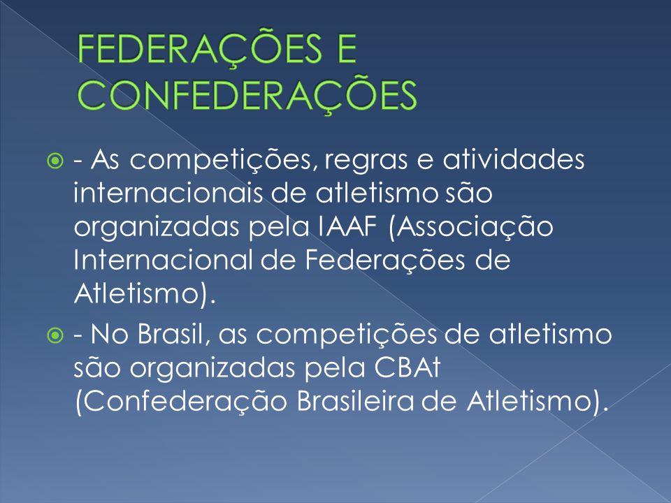 - As competições, regras e atividades internacionais de atletismo são organizadas pela IAAF (Associação Internacional de Federações de Atletismo). - N