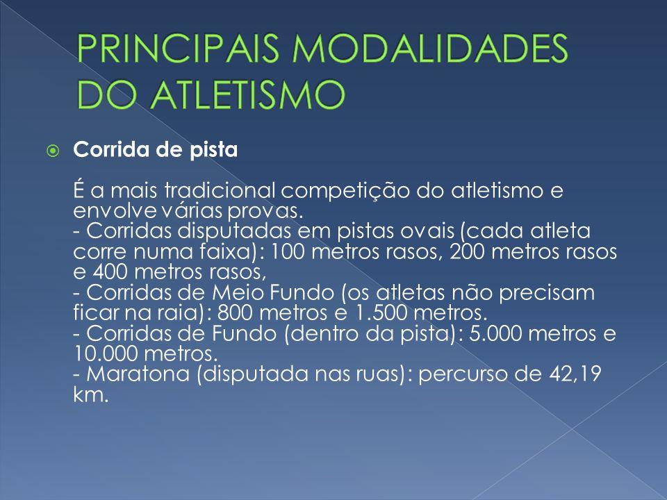 CORRRIDA COM OBSTÁCULO São realizadas dentro dos estádios e se dividem em quatro modalidades: 100 metros (feminino), 110 metros (masculino), 400 metros (masculino e feminino) e 3.000 metros (feminino e masculino).