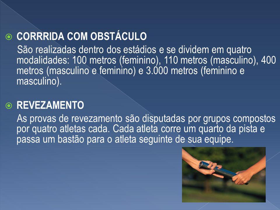 CORRRIDA COM OBSTÁCULO São realizadas dentro dos estádios e se dividem em quatro modalidades: 100 metros (feminino), 110 metros (masculino), 400 metro