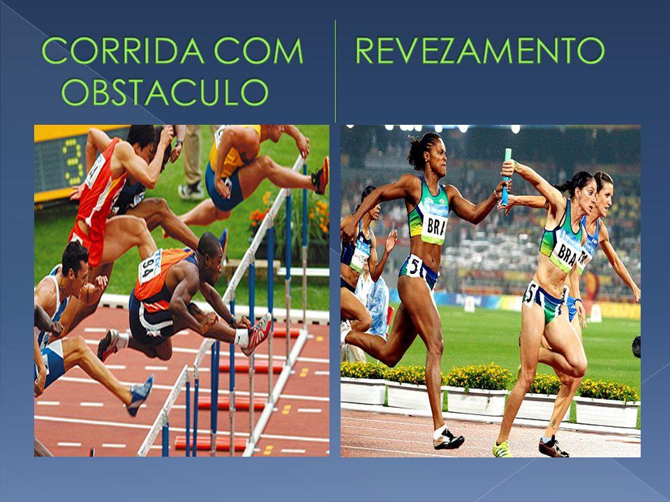 - Salto em distância: o atleta corre numa pista, de no mínimo 40 metros, e deve efetuar o salto antes de uma tábua de 20 cm de largura.