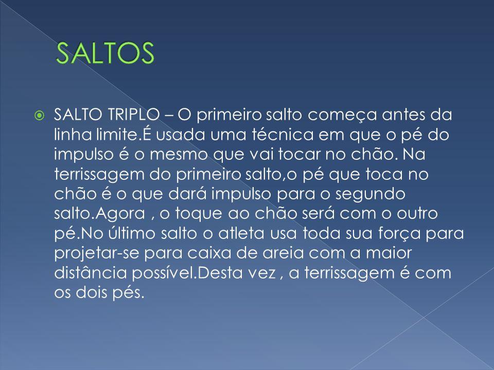 SALTO TRIPLO – O primeiro salto começa antes da linha limite.É usada uma técnica em que o pé do impulso é o mesmo que vai tocar no chão. Na terrissage
