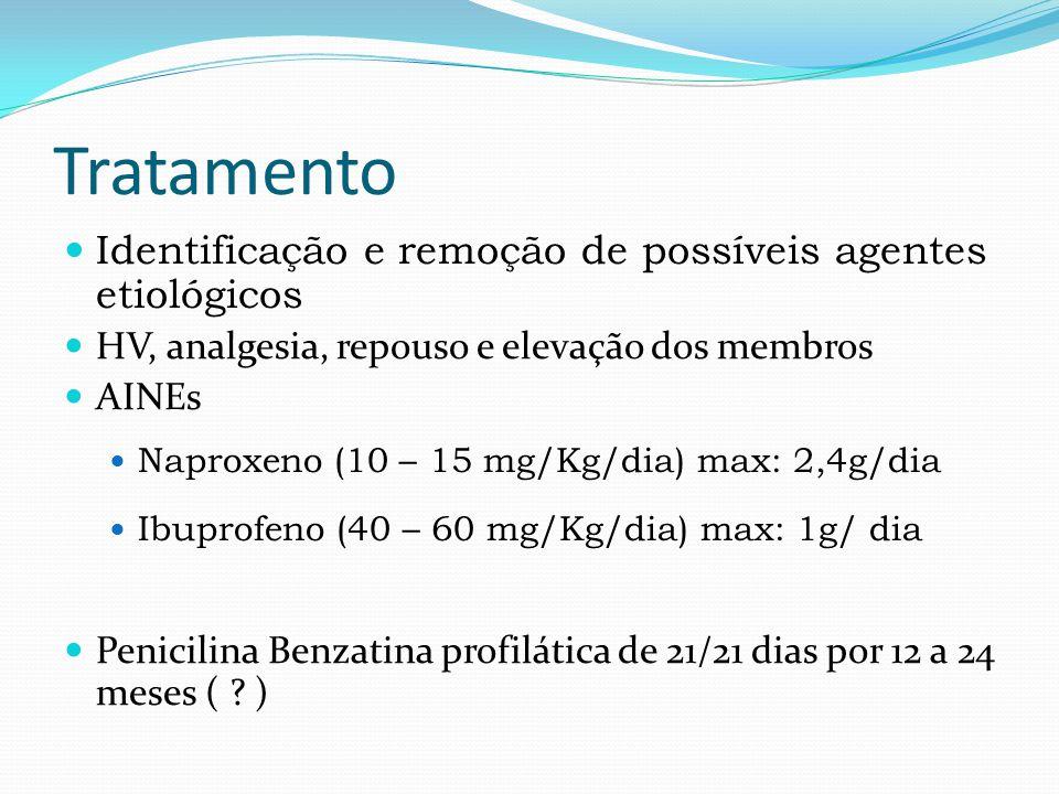 Tratamento Identificação e remoção de possíveis agentes etiológicos HV, analgesia, repouso e elevação dos membros AINEs Naproxeno (10 – 15 mg/Kg/dia) max: 2,4g/dia Ibuprofeno (40 – 60 mg/Kg/dia) max: 1g/ dia Penicilina Benzatina profilática de 21/21 dias por 12 a 24 meses ( .