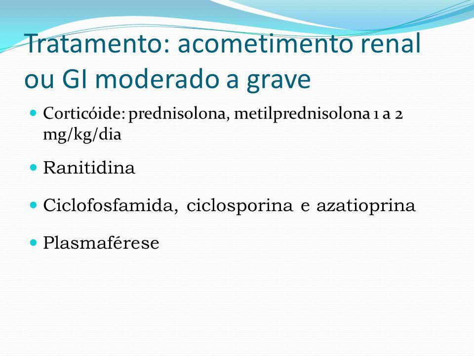 Tratamento: acometimento renal ou GI moderado a grave Corticóide: prednisolona, metilprednisolona 1 a 2 mg/kg/dia Ranitidina Ciclofosfamida, ciclosporina e azatioprina Plasmaférese