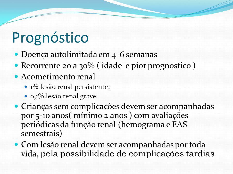 Prognóstico Doença autolimitada em 4-6 semanas Recorrente 20 a 30% ( idade e pior prognostico ) Acometimento renal 1% lesão renal persistente; 0,1% lesão renal grave Crianças sem complicações devem ser acompanhadas por 5-10 anos( mínimo 2 anos ) com avaliações periódicas da função renal (hemograma e EAS semestrais) Com lesão renal devem ser acompanhadas por toda vida, pela possibilidade de complicações tardias