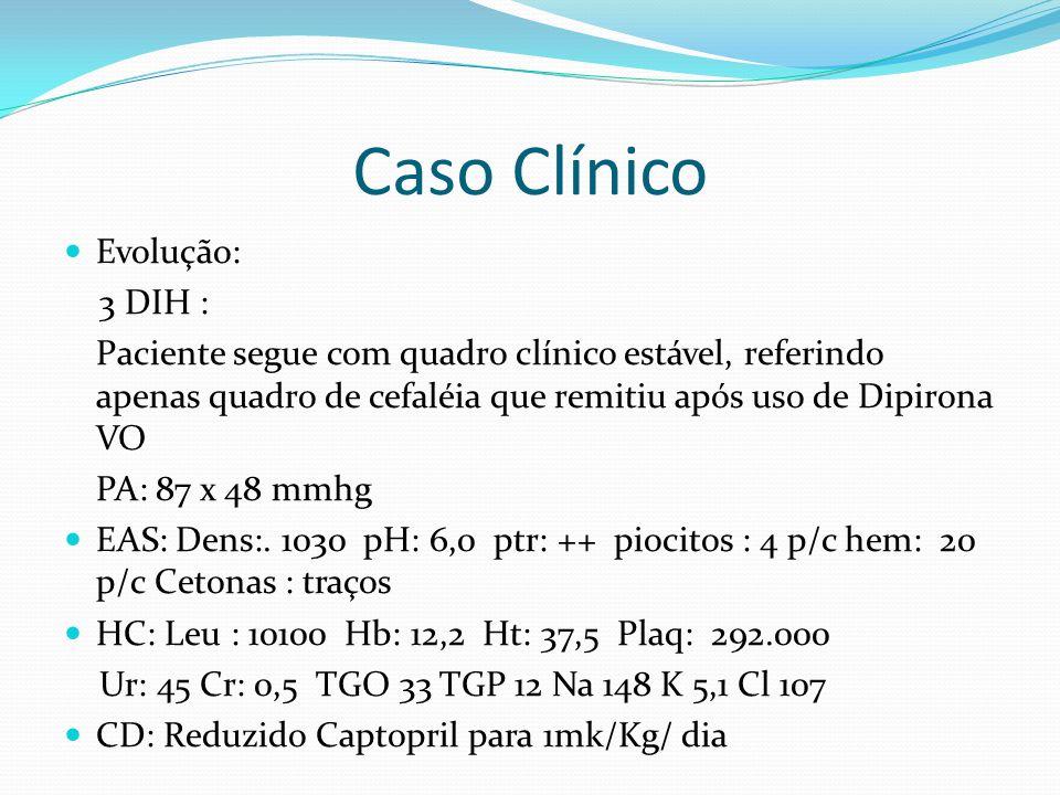 Caso Clínico Evolução: 3 DIH : Paciente segue com quadro clínico estável, referindo apenas quadro de cefaléia que remitiu após uso de Dipirona VO PA: 87 x 48 mmhg EAS: Dens:.