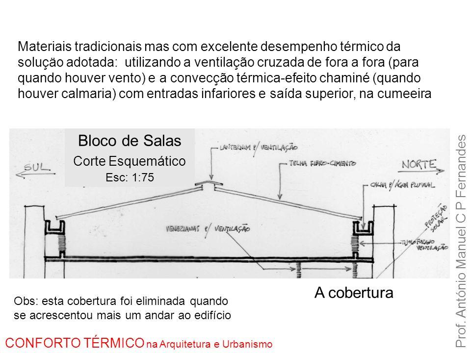 Materiais tradicionais mas com excelente desempenho térmico da soluçäo adotada: utilizando a ventilação cruzada de fora a fora (para quando houver ven