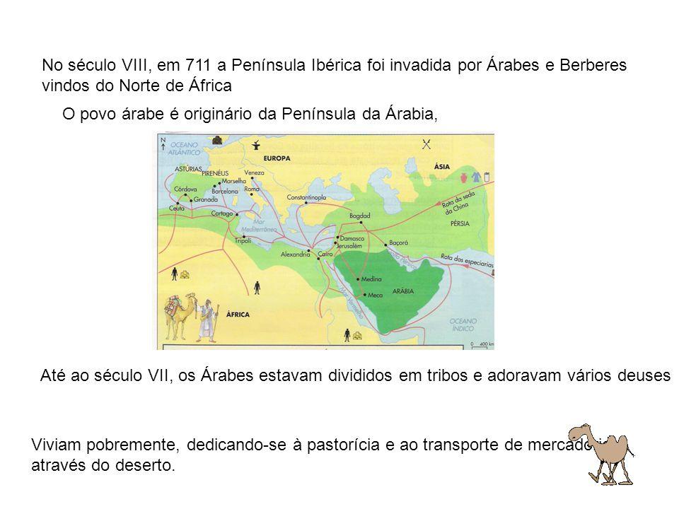 No século VIII, em 711 a Península Ibérica foi invadida por Árabes e Berberes vindos do Norte de África O povo árabe é originário da Península da Árab