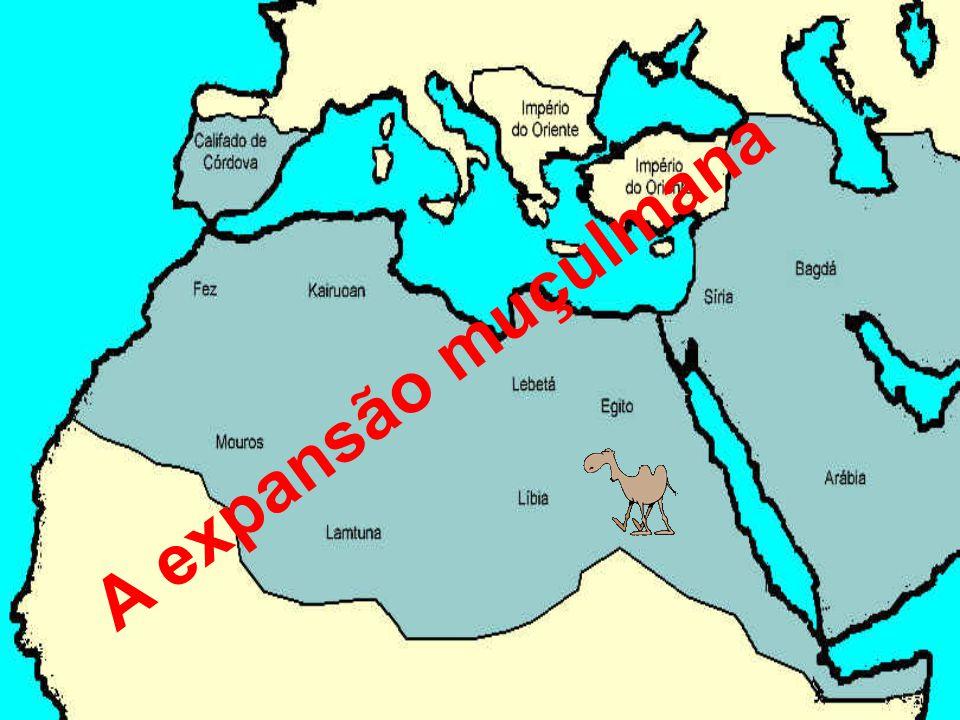 Os Muçulmanos expandiram-se do oceano Índico ao oceano Atlântico Esta expansão ficou a dever-se a : h Espalhar a sua religião, o Islamismo h Procurar novas terras e riquezas.