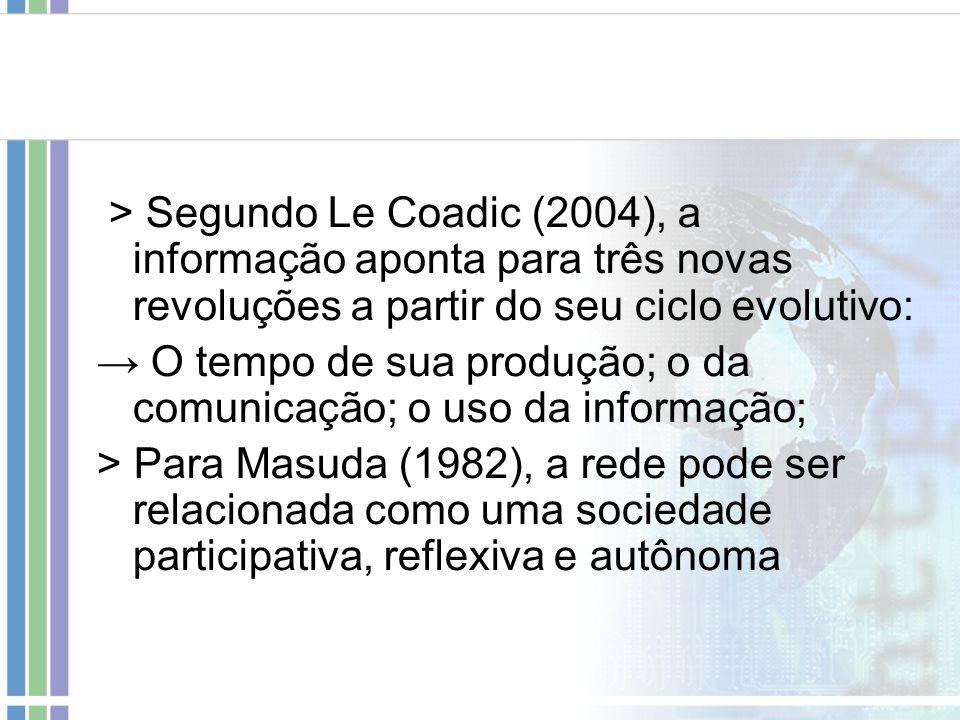 > Segundo Le Coadic (2004), a informação aponta para três novas revoluções a partir do seu ciclo evolutivo: O tempo de sua produção; o da comunicação;