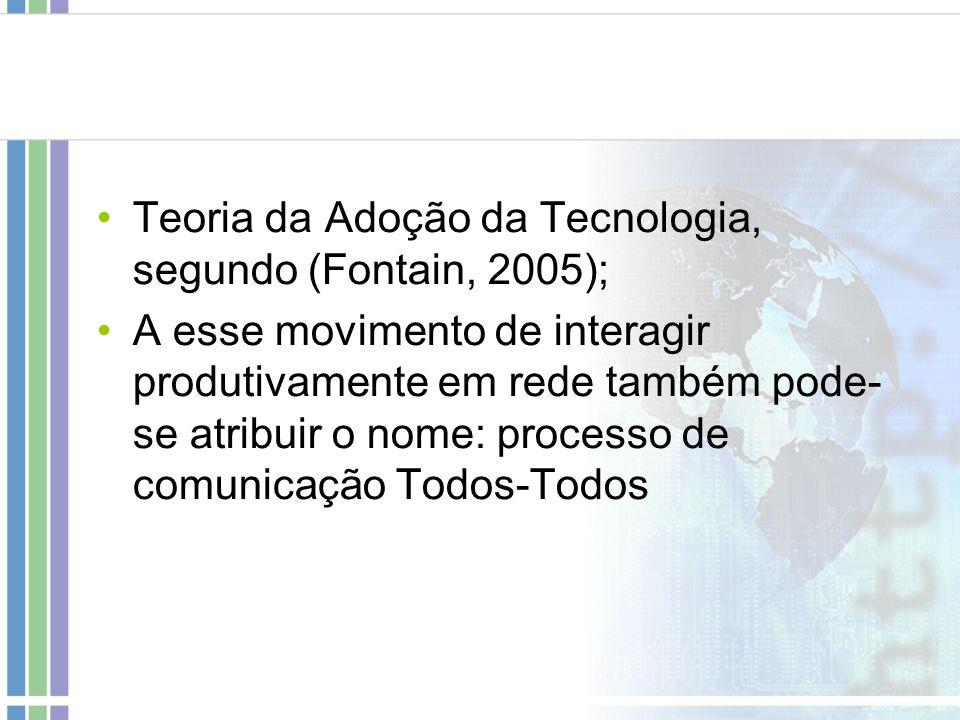 Teoria da Adoção da Tecnologia, segundo (Fontain, 2005); A esse movimento de interagir produtivamente em rede também pode- se atribuir o nome: process