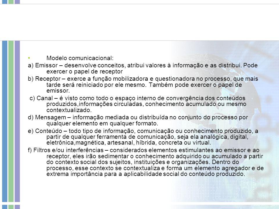 Modelo comunicacional: a) Emissor – desenvolve conceitos, atribui valores à informação e as distribui. Pode exercer o papel de receptor b) Receptor –