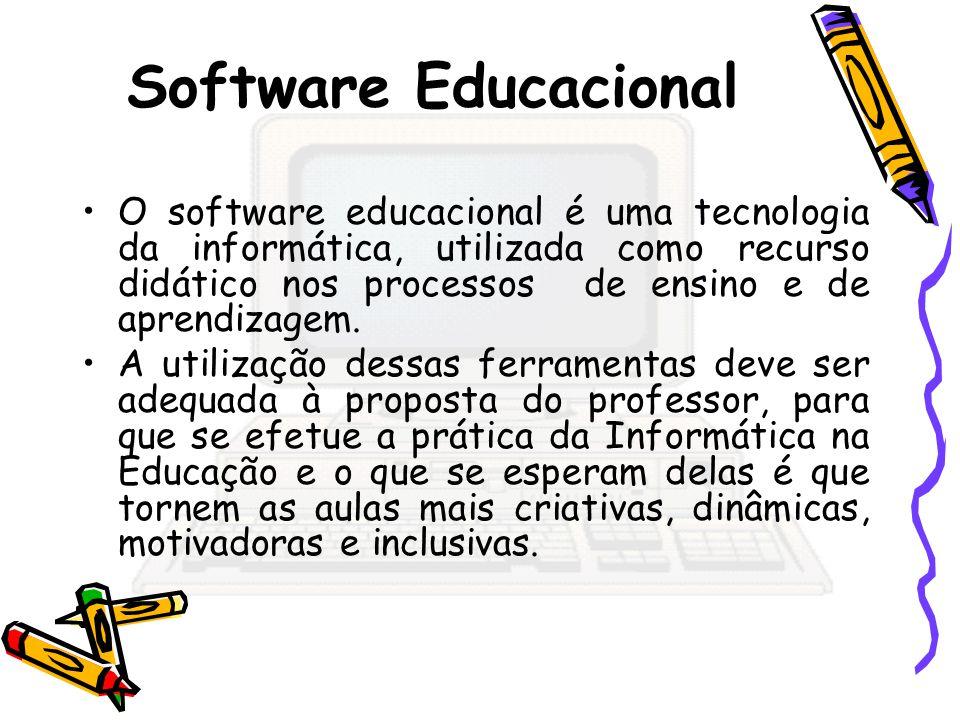 Software Educacional O software educacional é uma tecnologia da informática, utilizada como recurso didático nos processos de ensino e de aprendizagem